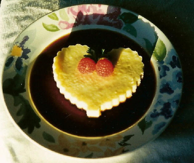 Cheesecakes With Raspberry Hearts Recipe — Dishmaps
